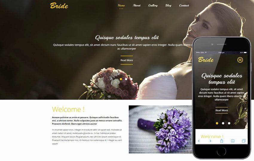 bride flat wedding planner bootstrap responsive web template