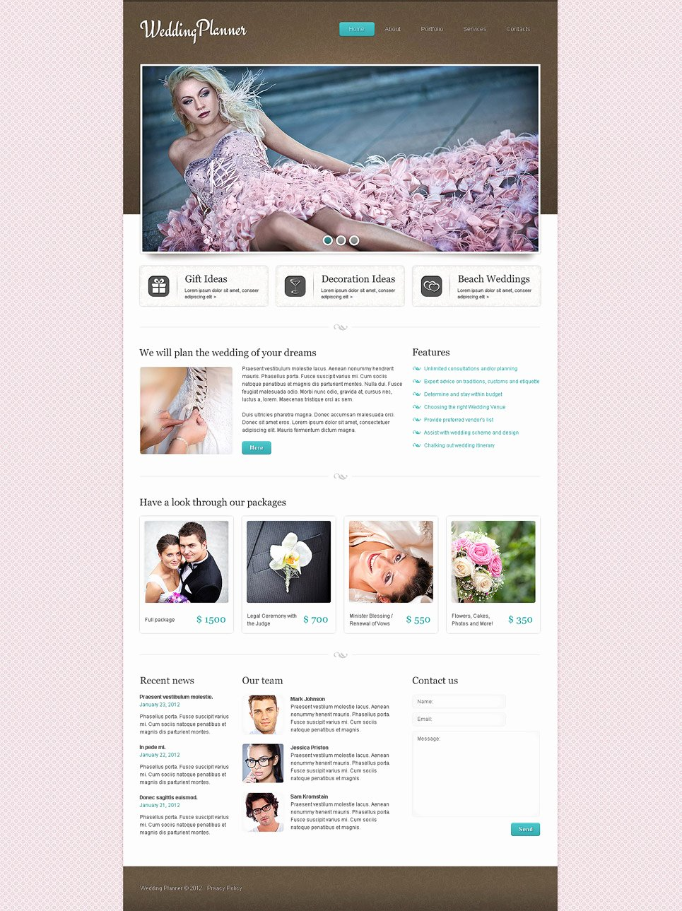 Wedding Planner Website Template Elegant Wedding Planner Responsive Website Template