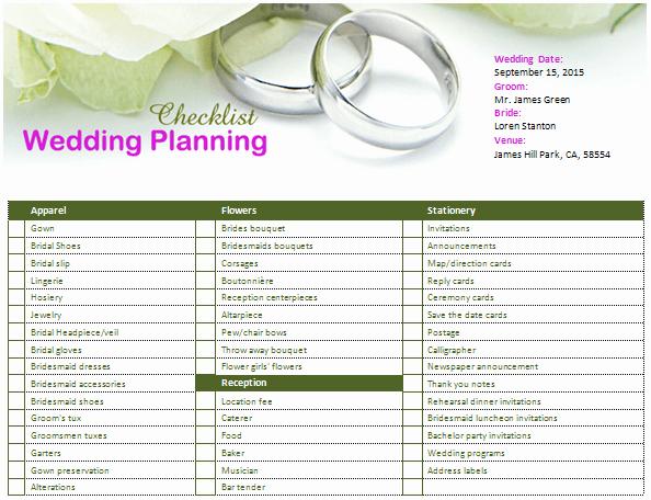 Wedding Planner Website Template Fresh Ms Word Wedding Planning Checklist