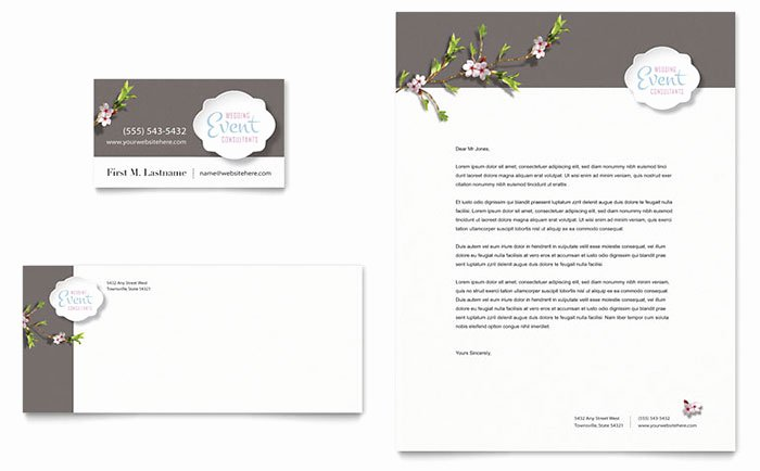 Wedding Planner Website Template Lovely Wedding Planner Business Card & Letterhead Template Design