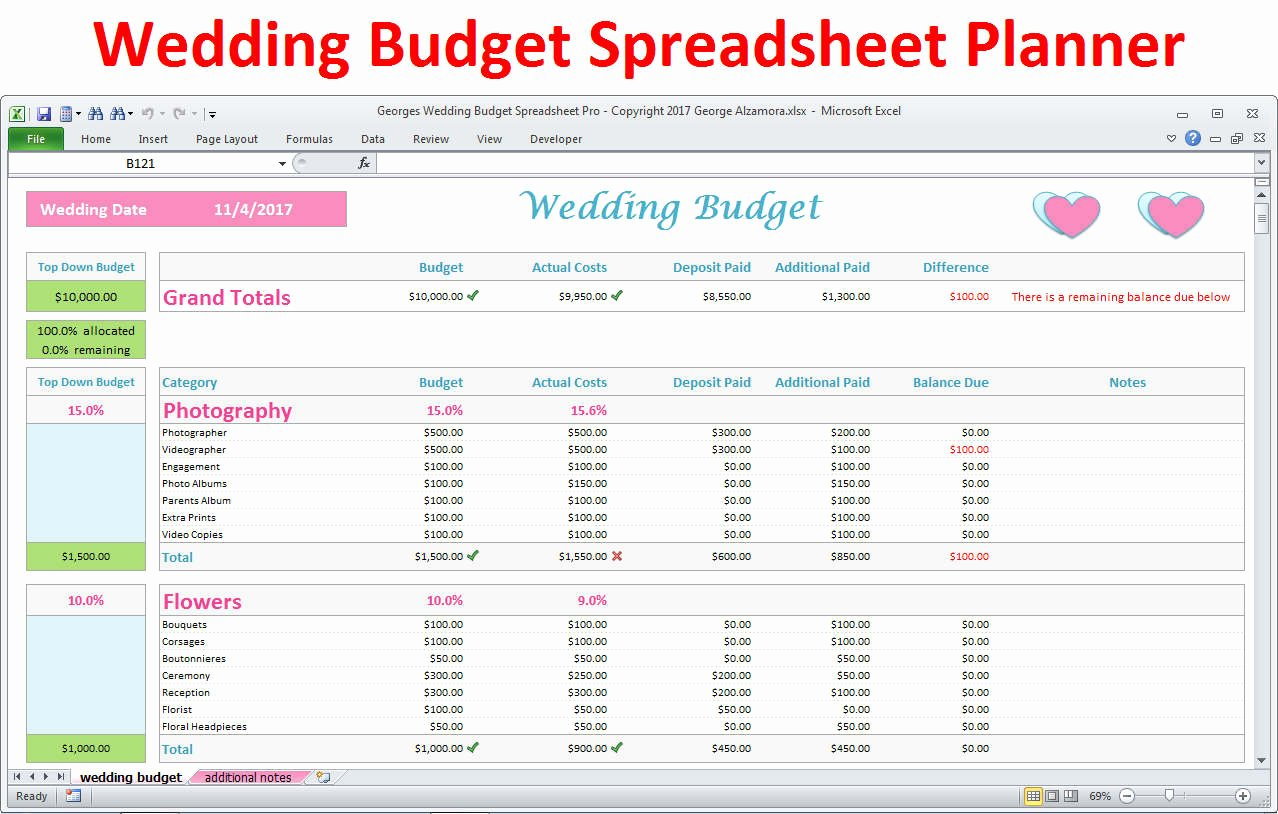 Wedding Planning Budget Template Awesome Wedding Planner Bud Template Excel Spreadsheet Wedding