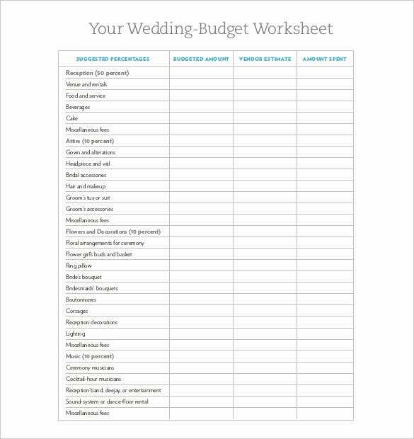 Wedding Planning Budget Template Elegant Wedding Bud Template 16 Free Word Excel Pdf