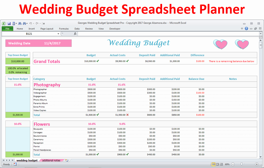 Wedding Planning Budget Template Fresh Wedding Bud Spreadsheet Wedding Bud In Excel