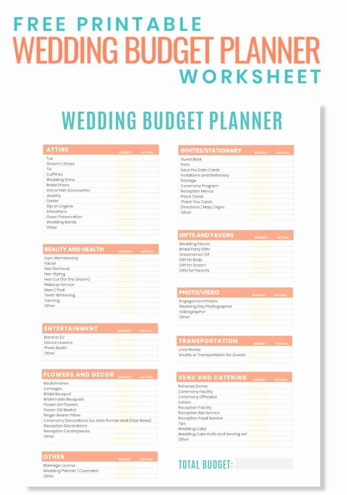 Wedding Planning Budget Template Luxury Free Printable Wedding Bud Planner Worksheet