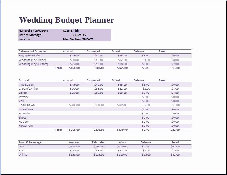 Wedding Planning Budget Template Unique Wedding Bud Planner Template