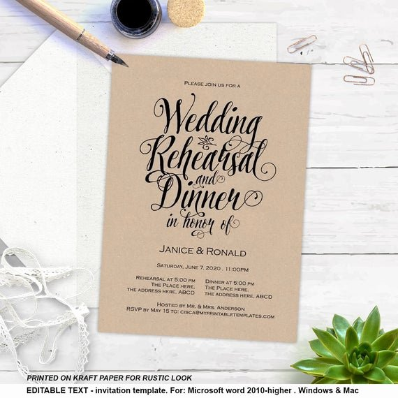 Wedding Rehearsal Dinner Invitation Template Awesome Printable Rehearsal Dinner Rustic Invitation Templates