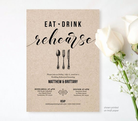 Wedding Rehearsal Dinner Invitation Template Elegant Rehearsal Dinner Invitation Template Printable Rustic Wedding
