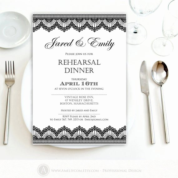 Wedding Rehearsal Dinner Invitation Template Fresh Rehearsal Dinner Invitation Printable Black Lace Weddings