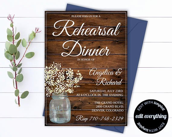 Wedding Rehearsal Dinner Invitation Template Fresh Rustic Wedding Rehearsal Dinner Invitation Template Wedding