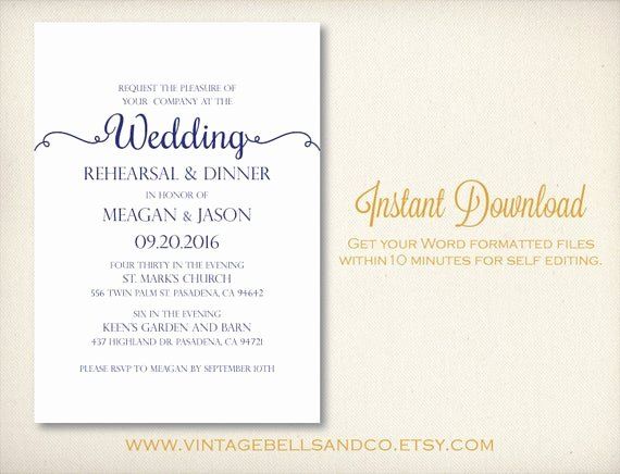 Wedding Rehearsal Dinner Invitation Template Inspirational Diy Printable Wedding Rehearsal Dinner by Vintagebellsandco