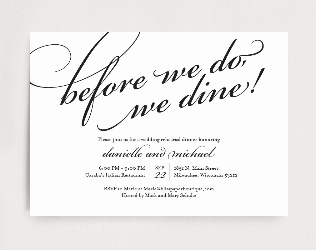 wedding rehearsal dinner invitation