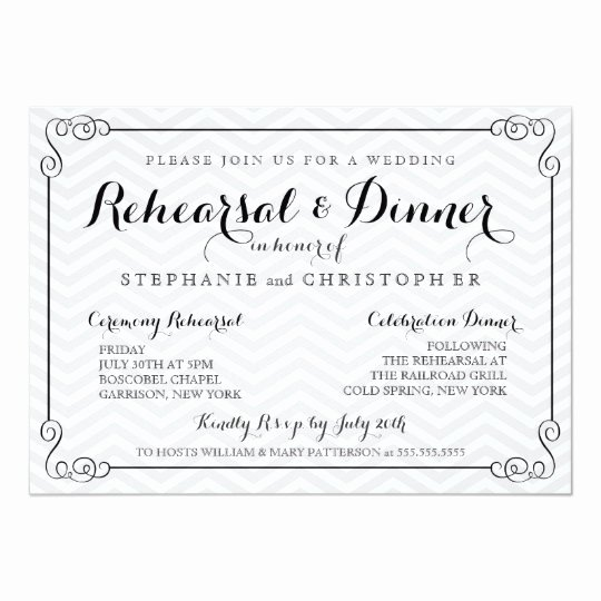 Wedding Rehearsal Dinner Invitation Template Lovely Chic Chevron Wedding Rehearsal & Dinner Invitation