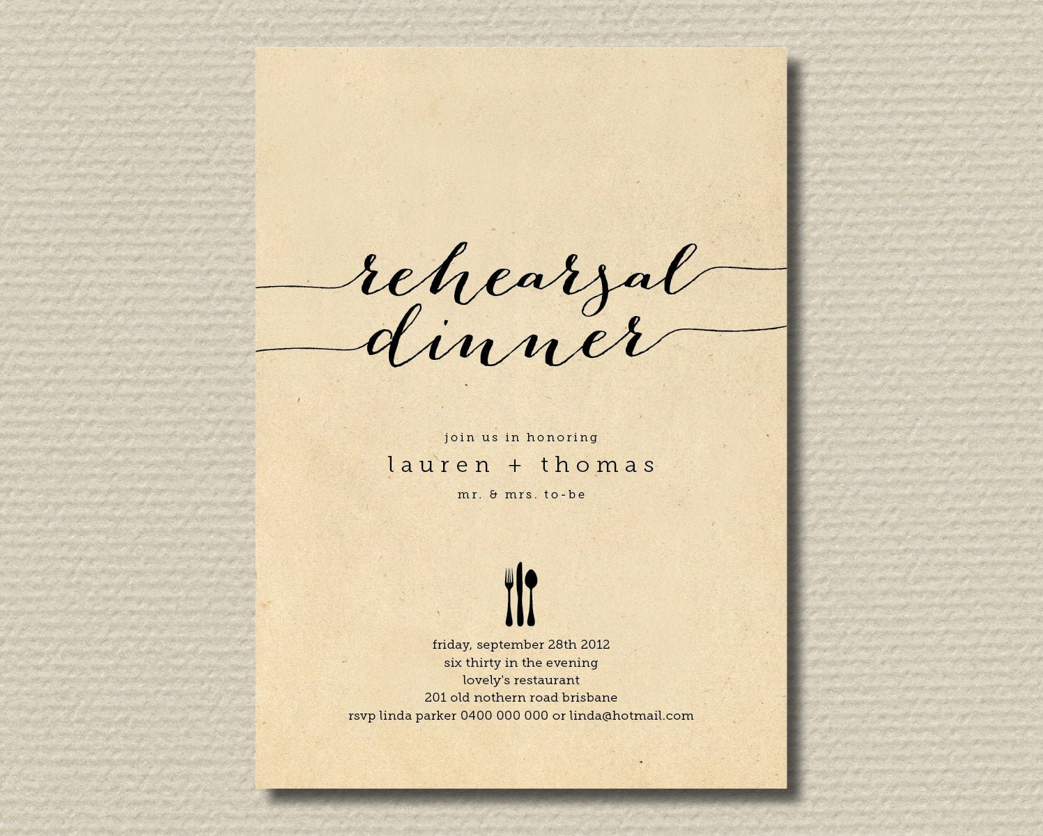 Wedding Rehearsal Dinner Invitation Template New Printable Wedding Rehearsal Dinner Invitation by