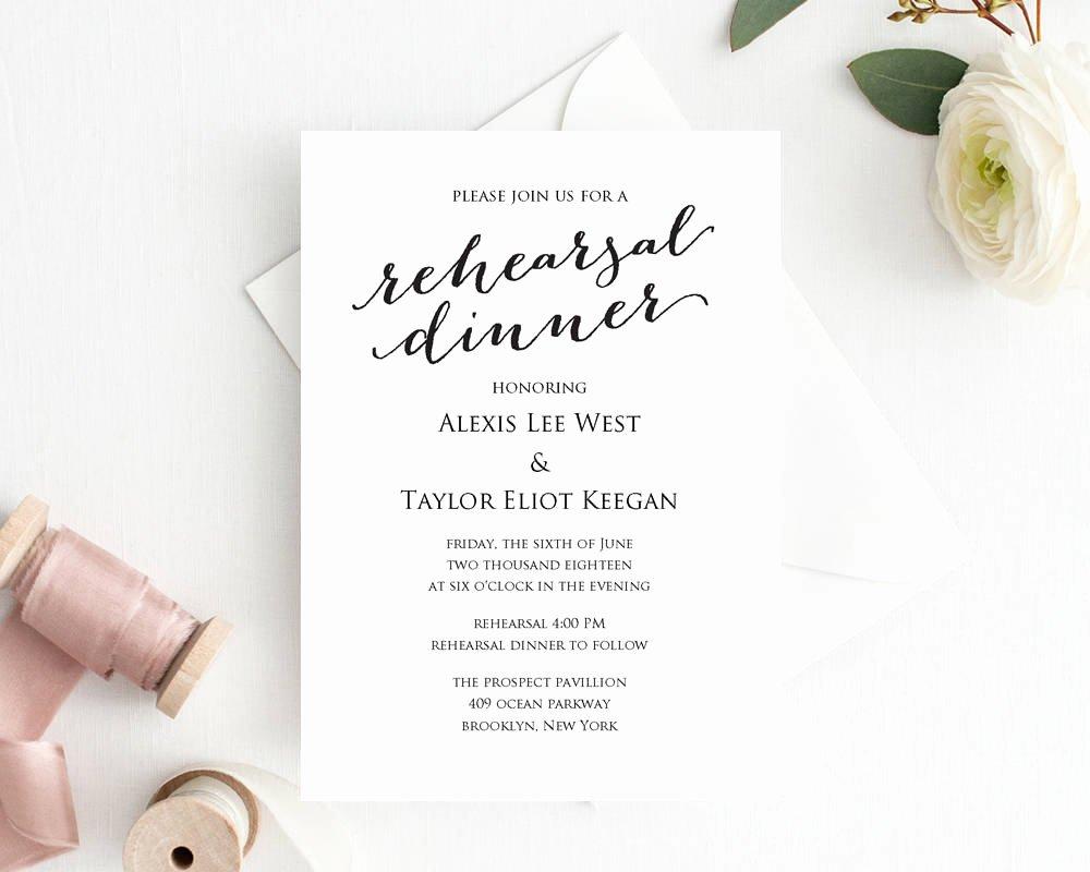 Wedding Rehearsal Dinner Invitations Template Best Of Rehearsal Dinner Invitation Template Diy Printing Custom