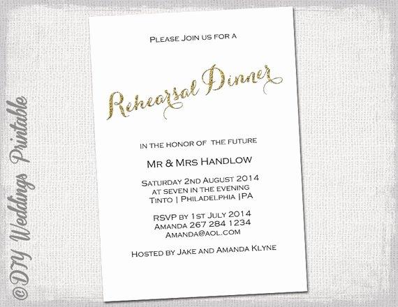 Wedding Rehearsal Dinner Invitations Template Best Of Rehearsal Dinner Invitation Template Gold Glitter