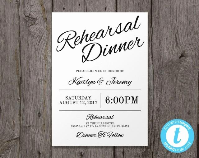 Wedding Rehearsal Dinner Invitations Template Elegant Printable Wedding Rehearsal Dinner Invitation Template