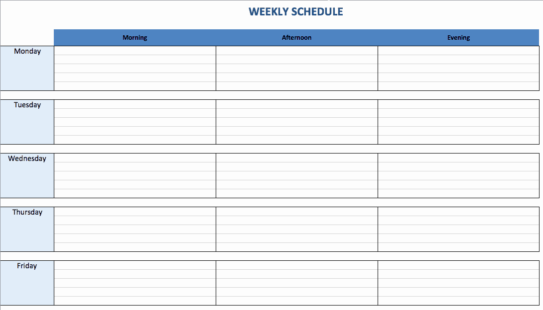 Week Day Schedule Template Beautiful Free Excel Schedule Templates for Schedule Makers