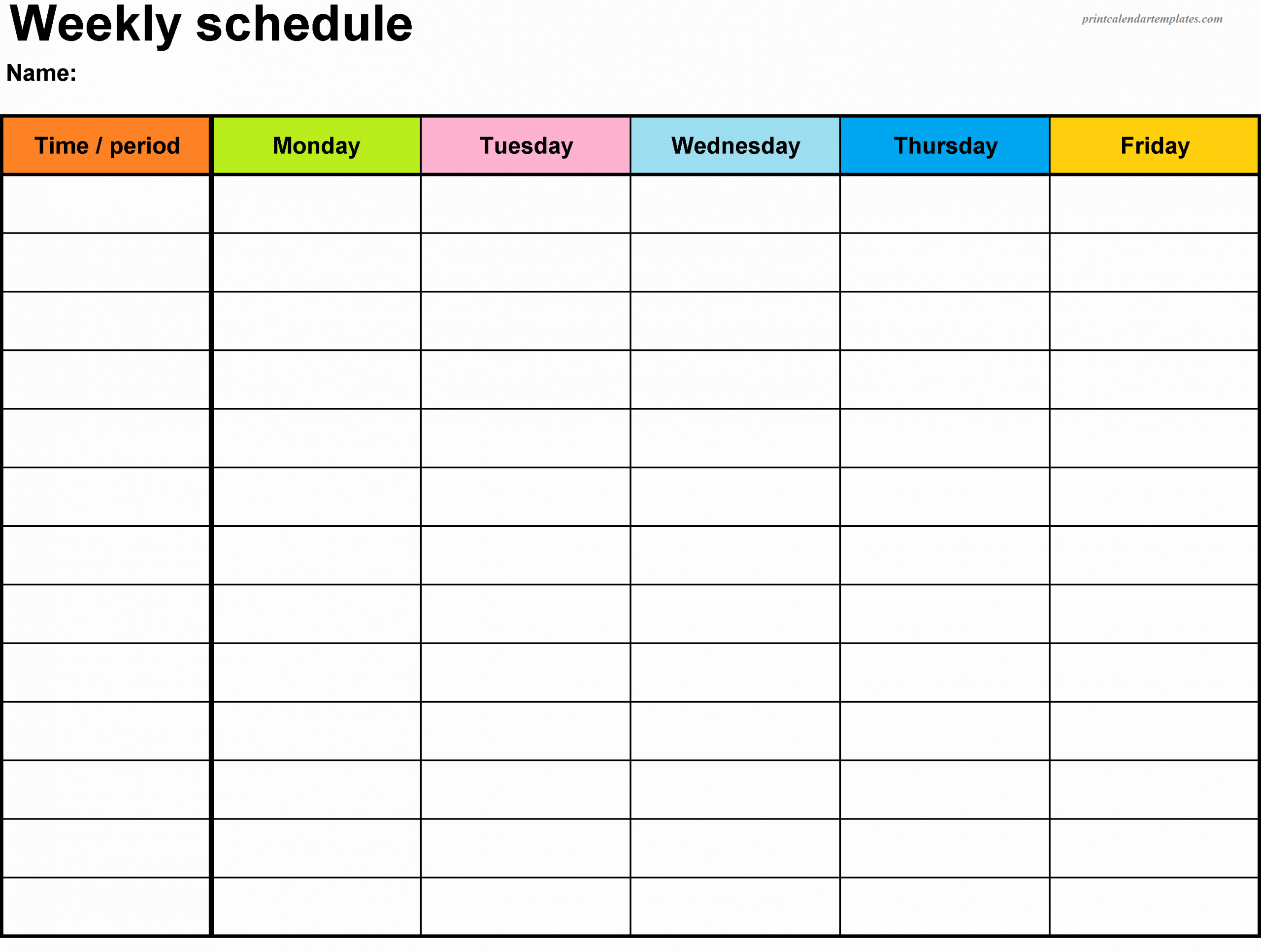 Week Day Schedule Template Beautiful Free Printable Weekly Planner 2018 Templetes