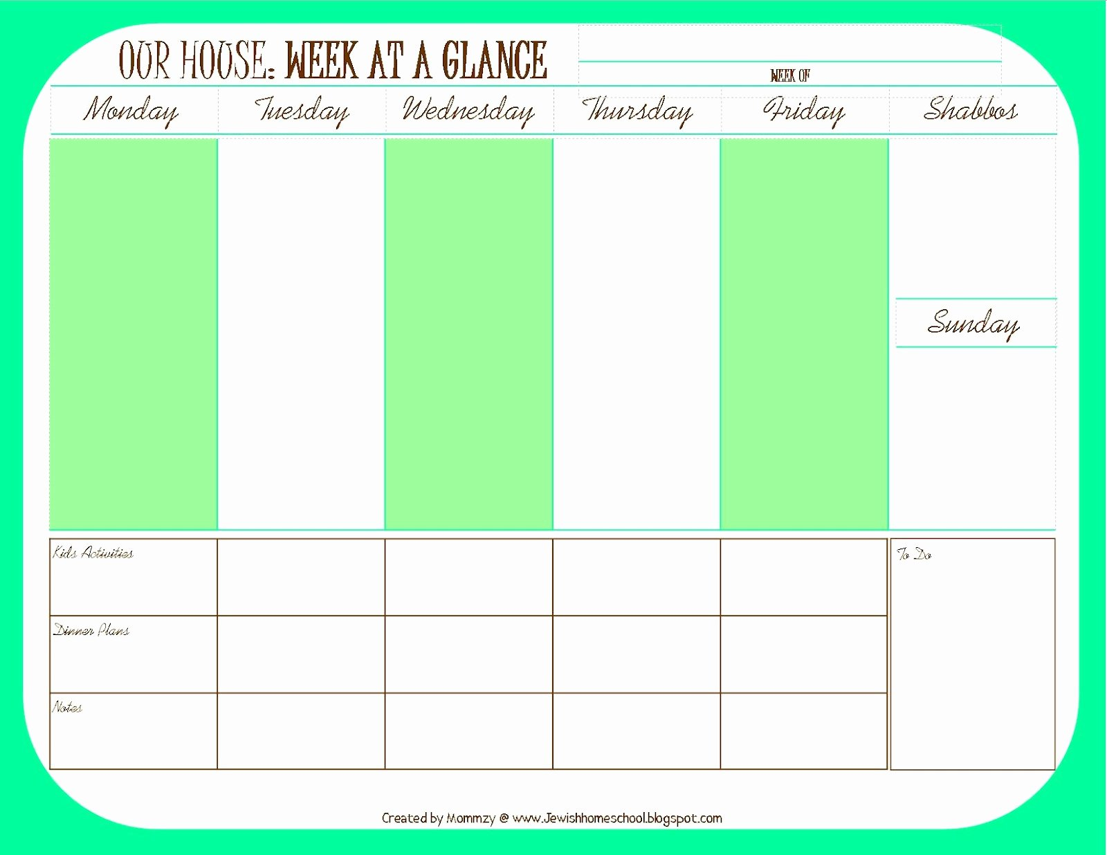 Week Day Schedule Template Lovely A Jewish Homeschool Blog Weekly Schedule