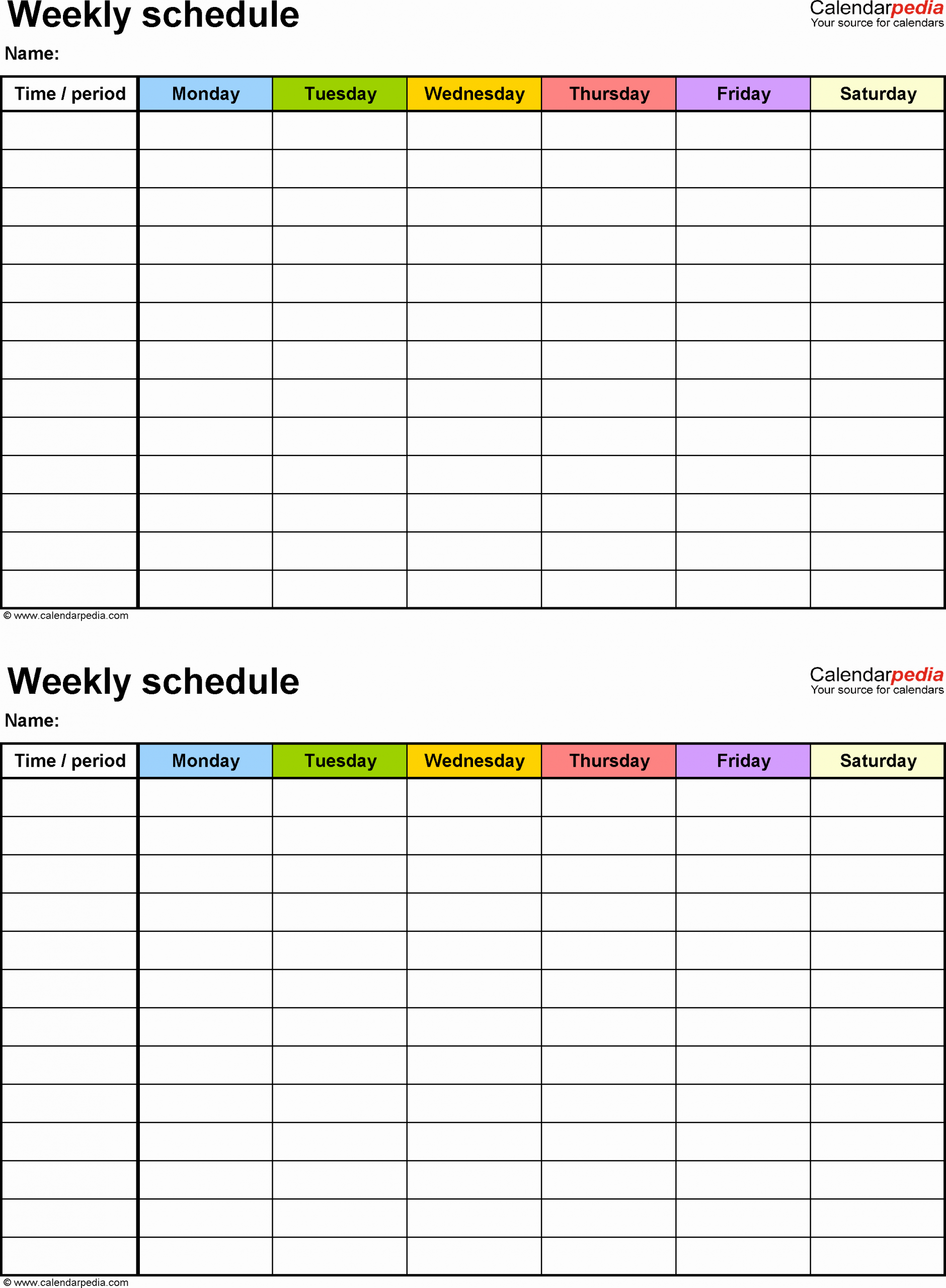 Week Day Schedule Template Lovely Free Weekly Schedule Templates for Excel 18 Templates