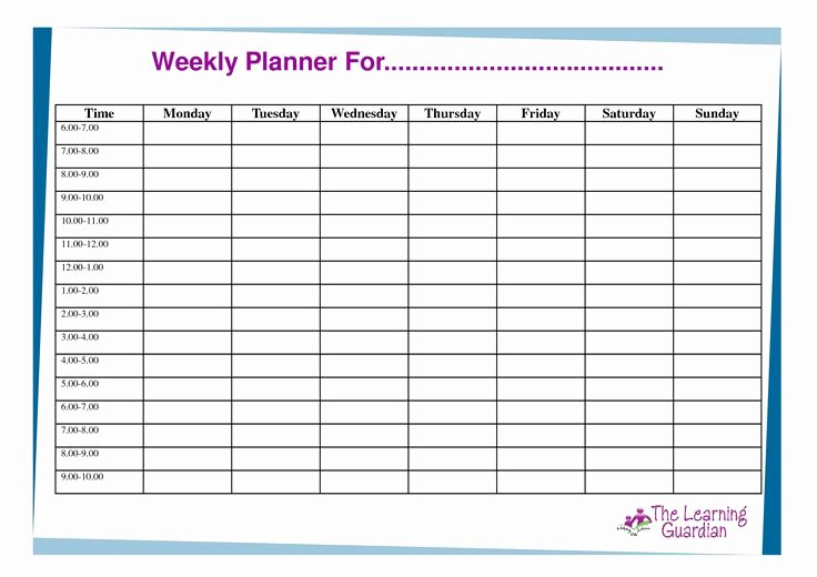 Week Day Schedule Template Unique Free Printable Weekly Calendar Templates