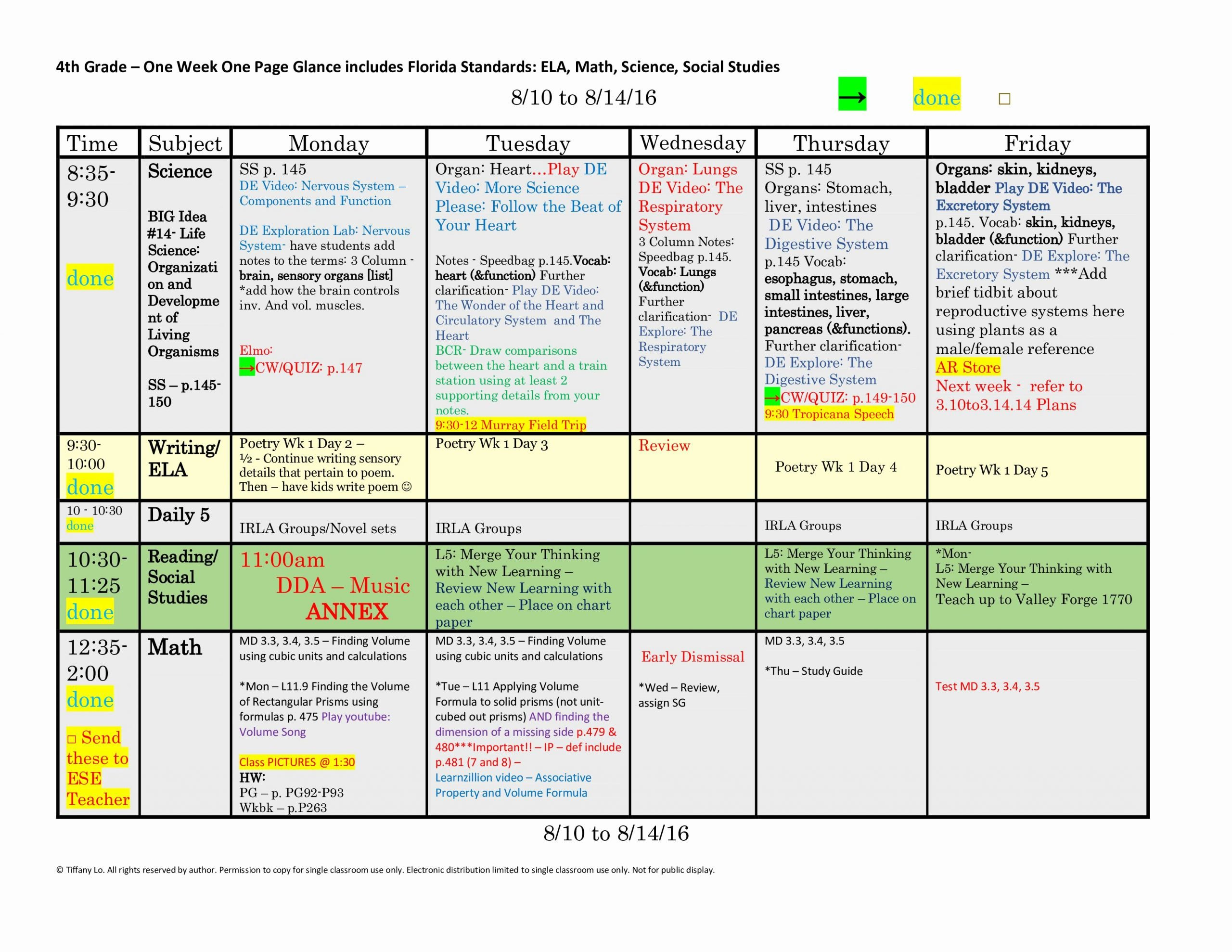 Week Lesson Plan Template Luxury 4th Fourth Grade Florida Standards Weekly Lesson Plan
