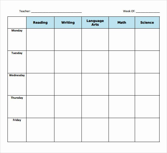 Week Lesson Plan Template New 11 Sample Blank Lesson Plans
