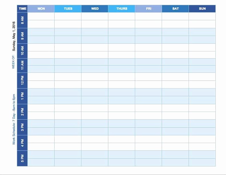 Week Schedule Template Excel Beautiful Free Weekly Schedule Templates for Excel Smartsheet