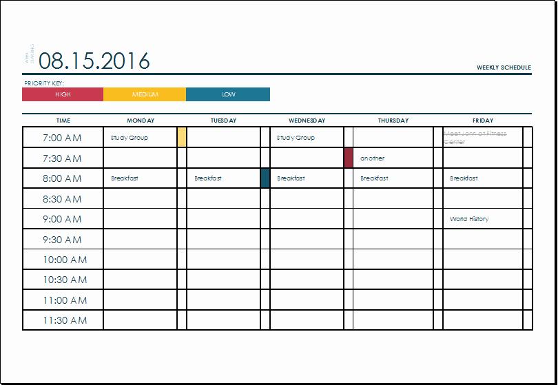 Week Schedule Template Excel Best Of Ms Excel Weekly College Tasks Schedule Template