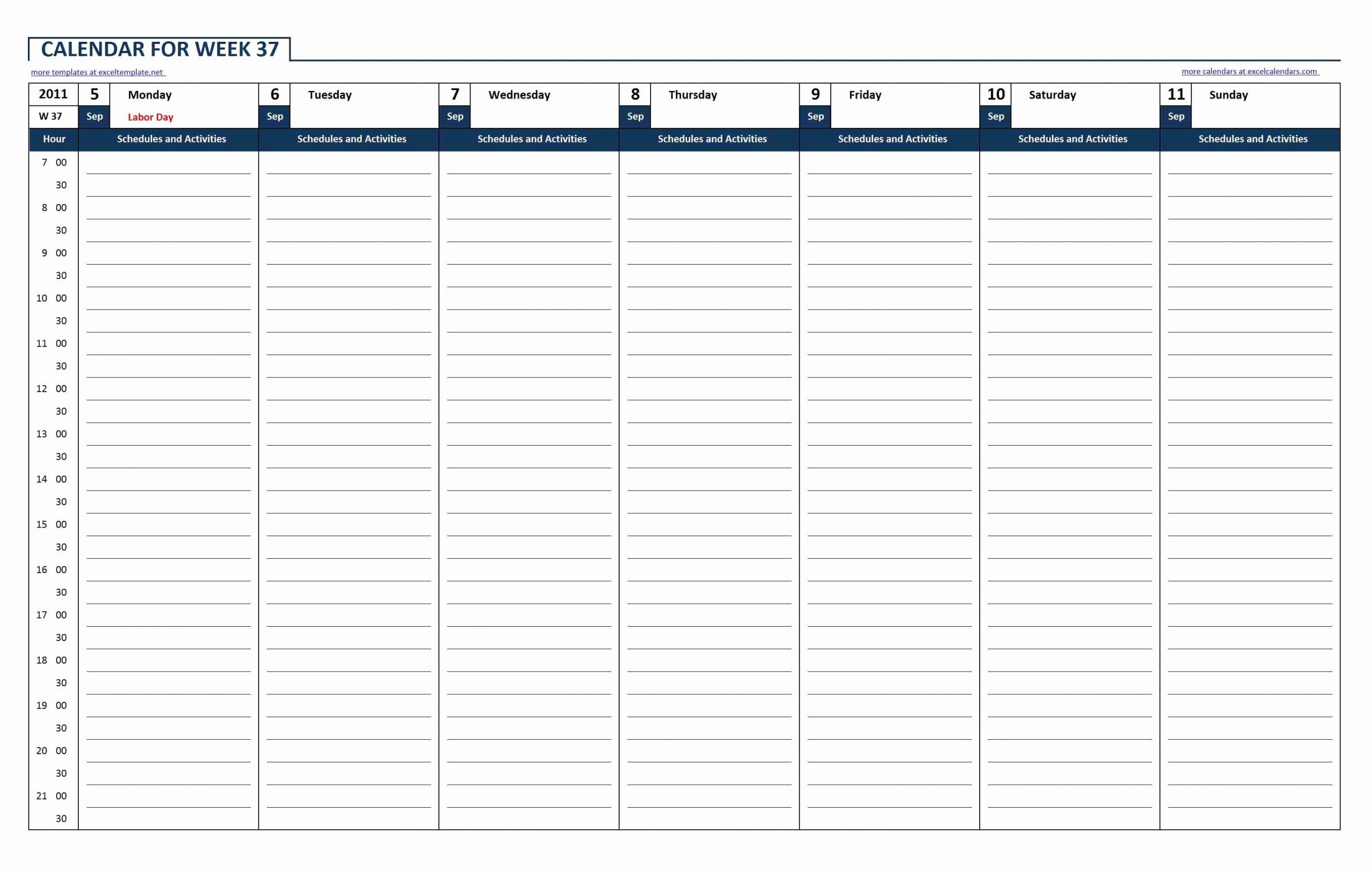 Week Schedule Template Excel Fresh Weekly Calendar Template Excel