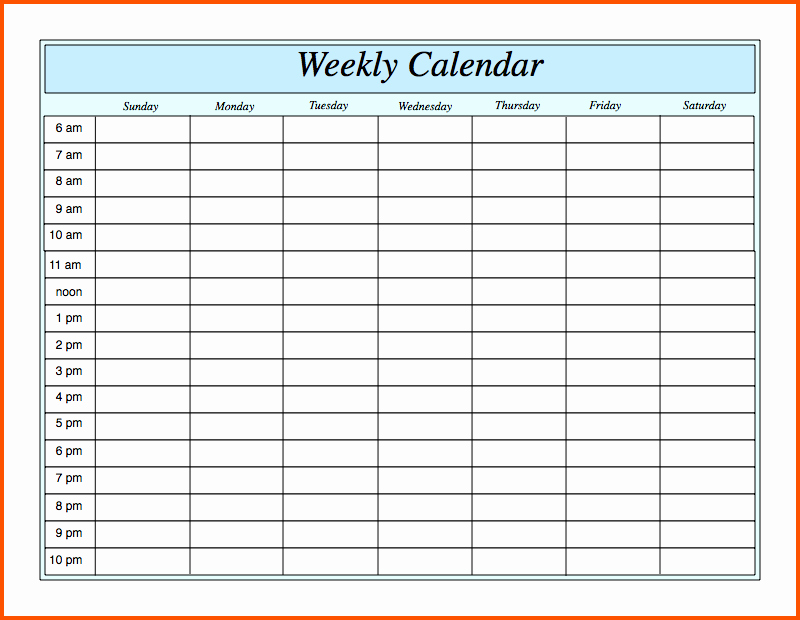 Week Schedule Template Excel Inspirational Weekly Schedule Template