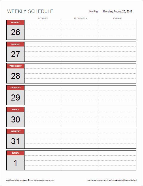 Week Schedule Template Excel Inspirational Weekly Schedule Templates for Excel and Pdf