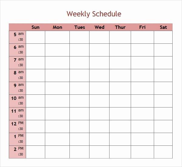 Week Schedule Template Excel Lovely Free 7 Weekend Scheduled Samples In Google Docs