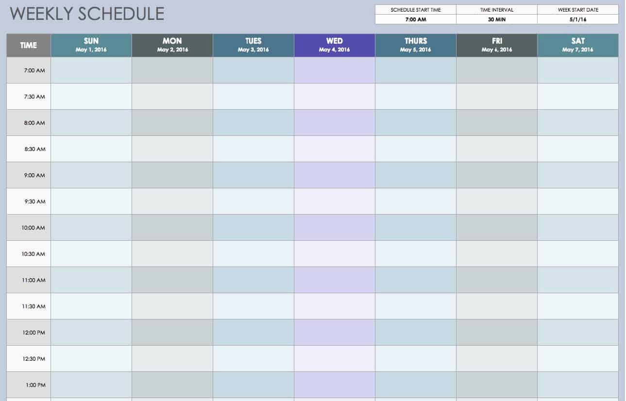 Week Schedule Template Excel New Free Weekly Schedule Templates for Excel Smartsheet