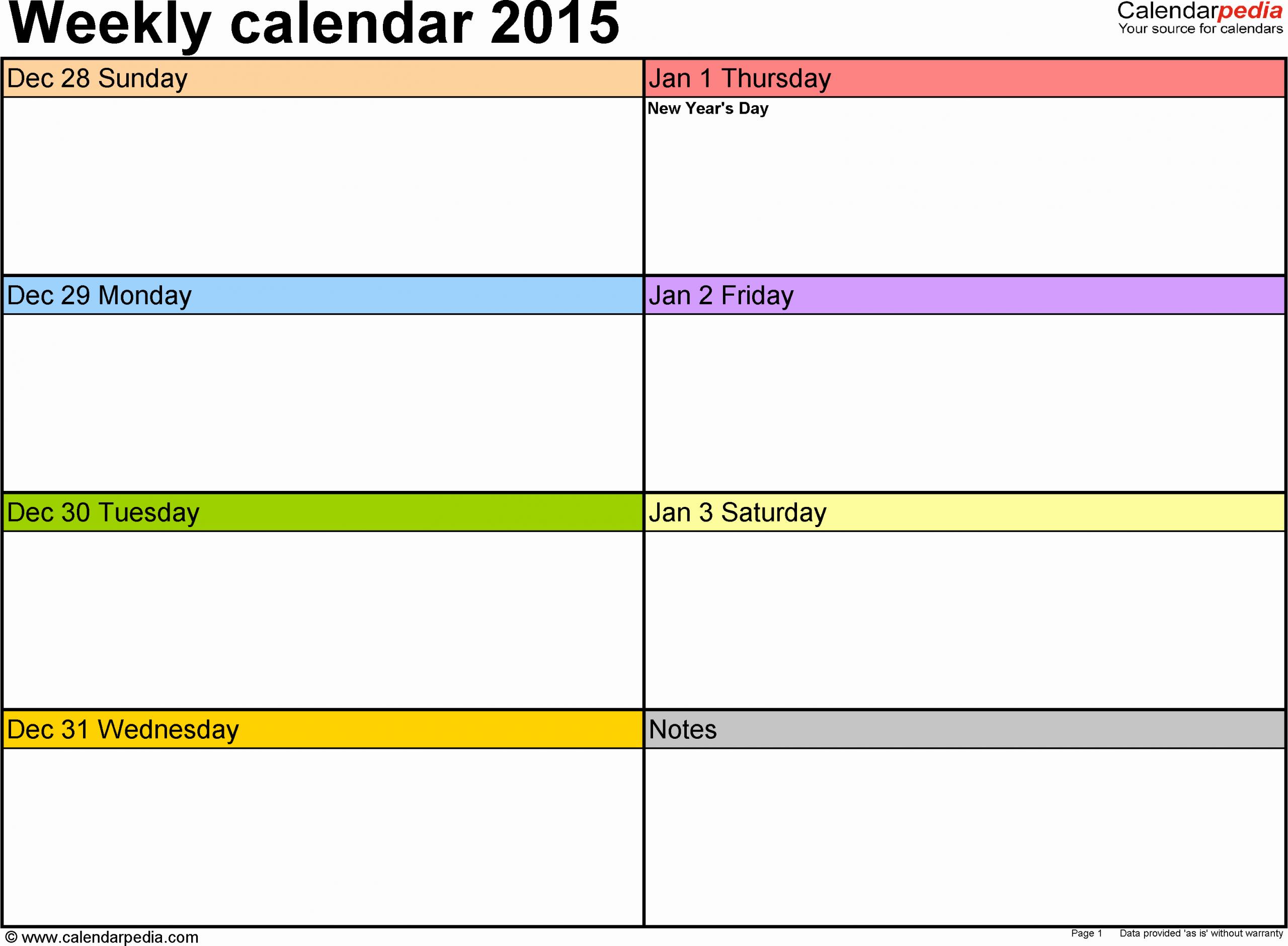 weekly calendar 2015 excel templates