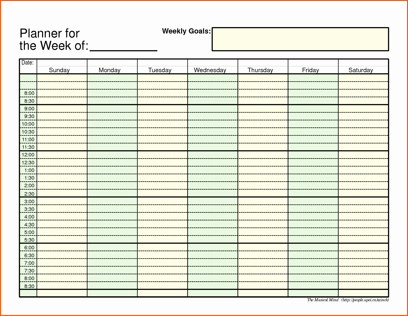 Week Schedule Template Excel New Weekly Schedule Template Pdf