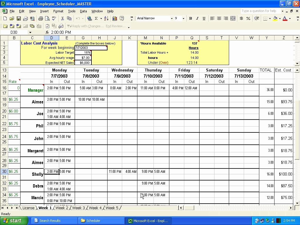 Week Schedule Template Excel Unique Make Schedules In Excel Weekly and Hourly Employee