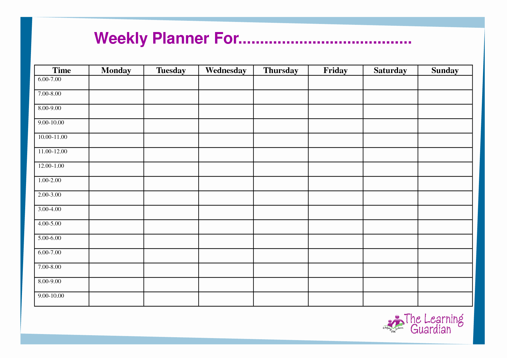 Week Time Schedule Template Lovely Free Printable Weekly Calendar Templates