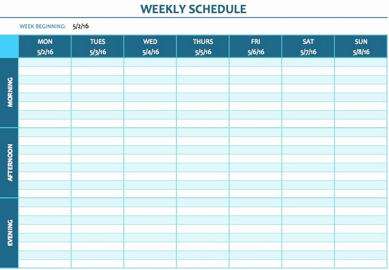 Week Time Schedule Template Lovely Free Weekly Schedule Templates for Excel Smartsheet
