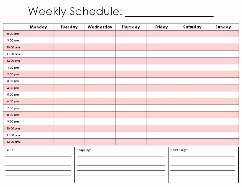 Week Time Schedule Template Luxury totally Printed A ton Of these Right now Abode