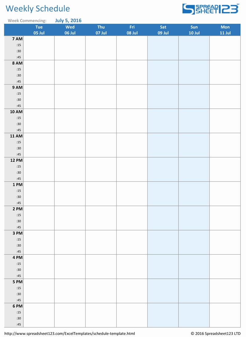 Week Work Schedule Template Beautiful Printable Weekly and Biweekly Schedule Templates for Excel