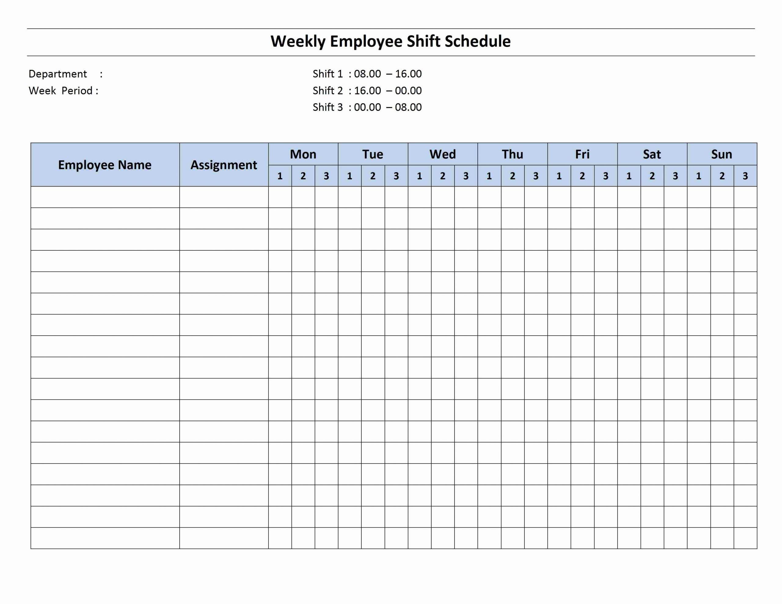 Week Work Schedule Template Beautiful Weekly 8 Hour Shift Schedule