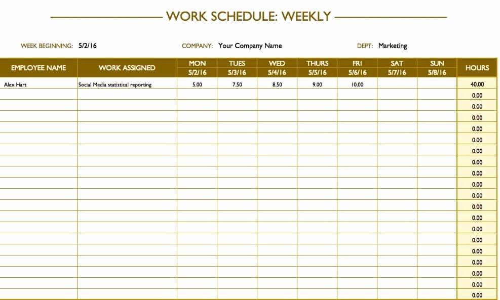 Week Work Schedule Template Elegant Free Work Schedule Templates for Word and Excel