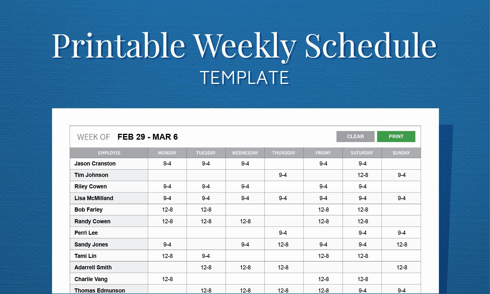 Week Work Schedule Template Fresh Free Printable Weekly Work Schedule Template for Employee