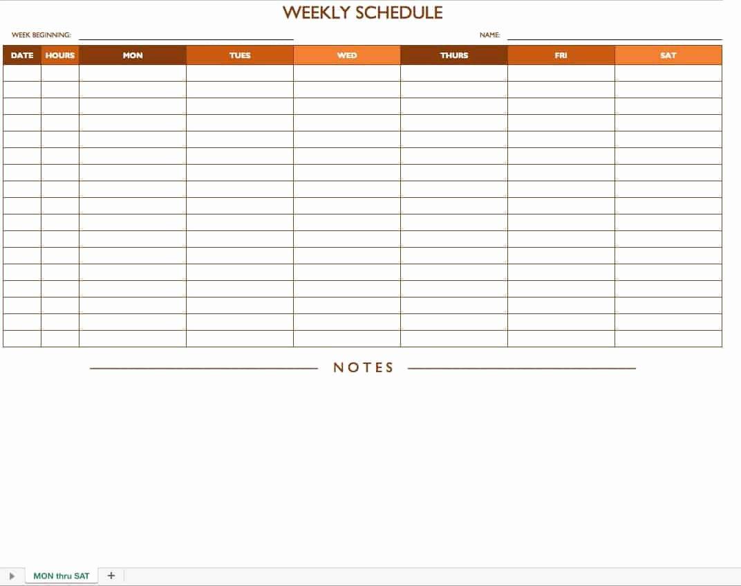 Week Work Schedule Template Fresh Free Work Schedule Templates for Word and Excel Smartsheet