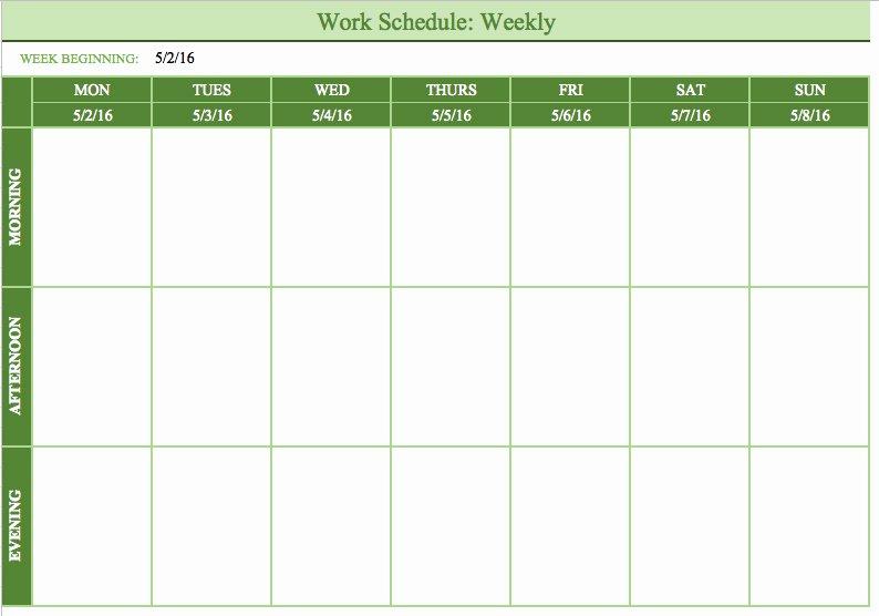 Week Work Schedule Template Fresh Hourly Schedule Template