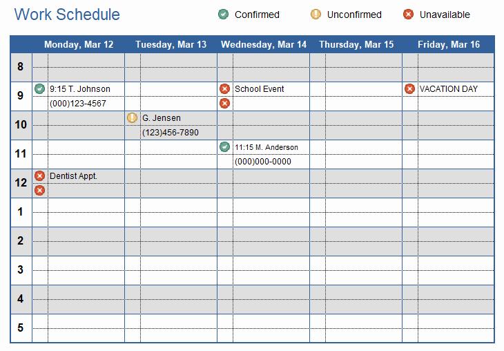 Week Work Schedule Template Fresh Work Schedule Template for Excel