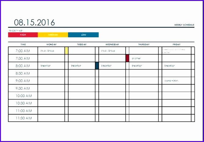 excel college schedule template x1101