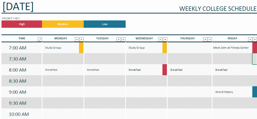 Weekly College Schedule Template Beautiful Weekly College Schedule Template Template Haven