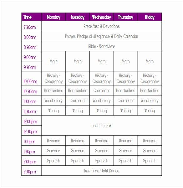 Weekly College Schedule Template Elegant Weekly School Schedule Template 10 Free Word Excel